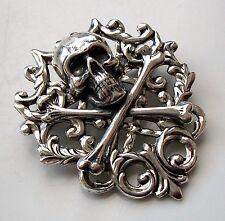 Skull & Crossbones Brooch Halloween Renaissance Pirate Steampunk Hat Pin Silver