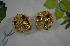 VINTAGE 1950s gold and orange amber diamante flower earrings clip-on backs