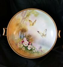 Antique China Footed Serving Bowl - Hand Painted - Butterflies Flowers - Gold Tr