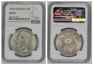 NGC Venezue 1936 5 Bolivares Libertador Barre Silver Coin Nice Lustre AU55