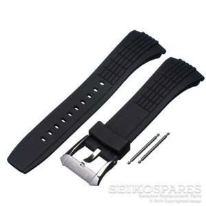 Seiko Watch Band Silver Buckle Velatura Kinetic SPC007 SRH013 Black Rubber Strap