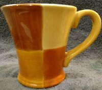 "1 MINT Tabletops Unlimited QUADRETTINI Yellows Browns Flared Mug Cup 4-1/2"" high"