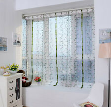 Embroidered Flower Sheer Curtain Panel Window Balcony Tulle Divider 200cmx80cm