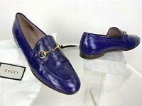 Gucci Jordaan 8 8.5 US 38.5 EU Purple Leather Loafers Shoes Horsebit Runway Bag