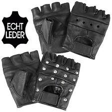 Biker Handschuhe fingerlos ECHT LEDER SCHWARZ XS-XXL mit ohne Nieten ohne Finger