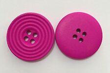 10 X 25mm Fuschia Pink Wooden Buttons - Australian Supplier