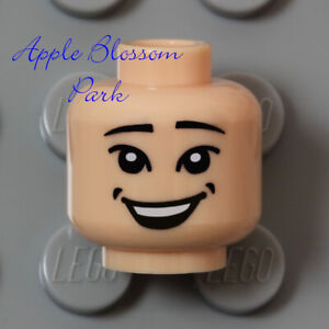 NEW Lego Light FLESH MALE MINIFIG HEAD Indiana Jones Boy Girl Short Round Smile