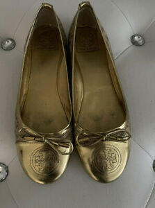 TORY BURCH Cheetah & Gold Metallic Leather Ballet Flats Shoes Sz 7