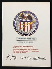 APOLLO 16 APPRECIATION / AWARD NASA ISSUED TO EMPLOYEE