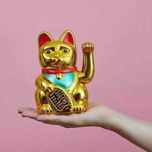 NEW 13cm Classic Lucky Wealth Waving Gold Maneki Neko Chinese Fortune Money Cat