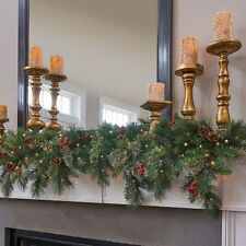 6 Foot Lighted Pre Lit Cascading Mantel Mantle Christmas Garland Swag Cordless