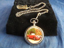 E-TYPE JAGUAR CHROME POCKET WATCH WITH CHAIN (NEW)