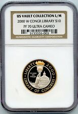 2000 W LIBRARY OF CONGRESS $10 BI-METALLIC GOLD/PLATINUM NGC PF70 UCAM*UNIQUE*