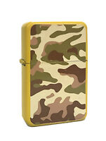 Yellow Lighter With Camo Design Flip Top Oil Lighter Wind Resistant Flame