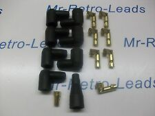 BLACK IGNITION LEAD DISTRIBUTOR BOOTS AND TERMINALS KIT COVERS  X6 V6  KIT CAR