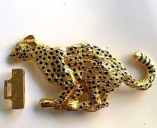 Vintage Huge Dotty Smith Leopard Panther Lion Cat Belt Buckle Goldtone