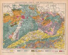 GEOLOGISCHE KARTE VON DEUTSCHLAND Landkarte 1895 Geologie