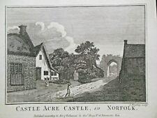 Castle Acre Castle, Norfolk (c1786) Original Vintage Engraving, J Wooding Sculp.