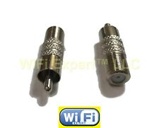 Pack of 2 F F-Type Coaxial Coax Jack Female to Rca Plug Male Adapter Adaptor Usa