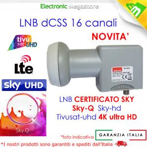 ILLUMINATORE LNB dCSS/QUAD SCR 16 CANALI,COMPATIBILE SKY-Q, 4K, TIVUSAT EMMESSE