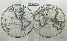 1816 Antique Map; New and Old World or Western and Eastern Hemispheres