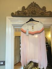 RRP £34 NEXT BLUSH NUDE AND CREAM GEORGETTE LONG SLEEVE BLOUSE SIZE 20