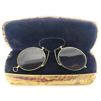 Antique Pince Nez Spectacles Circa 1885 Silver and Brass Color +2.75 Power Lens