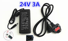 24V 3A 72W AC/DC Switching Power Supply Pack Adapter Charger Desktop PSU Black