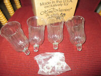 """4 Vintage Home Interiors Clear Chantilly Votive Cups New in the box 4 3/4""""T"""