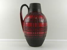 Fat Lava Bodenvase rot & schwarz 38 cm - 60er 70er Jahre Henkelvase