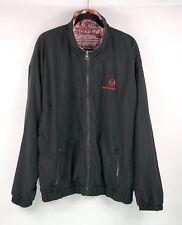 Vintage SERGIO TACCHINI Windbreaker Jacket Sz 48 Reversible Black Red Print Zip