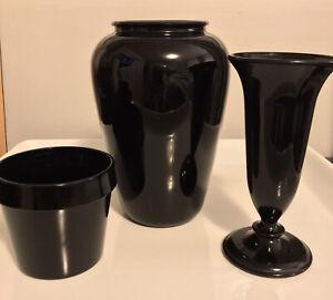Lot of Black Amethyst depression glass 2 Vases & 1 Small Planter Vintage MCM