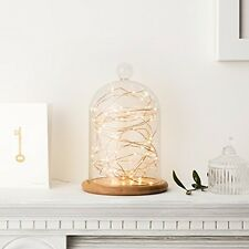 Large Glass Cloche Bell Jar Dome with Bamboo Tray by Lights4fun Home Decor NEW