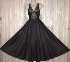 Vtg Rare Gothic Black Vandemere Olga Nightgown Negligee Gown Fancy Lace S M Usa