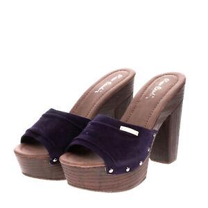 RRP€125 PIERRE CARDIN Clog Sandals EU 39 UK 6 US 9 Suede Effect Studded Platform