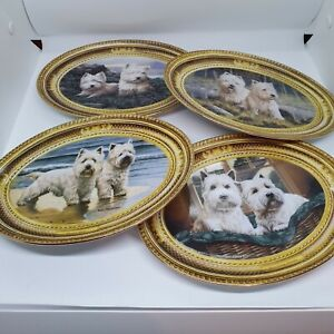 SET OF FOUR FRANKLIN MINT WEST HIGHLAND WHITE TERRIER BY NIGEL HEMMING