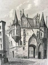 Paris Hôtel de Sens estampe de 1856 France