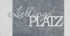 71560 Schriftzug Lieblingsplatz aus Holz silber / weiß zum Hängen und Stellen