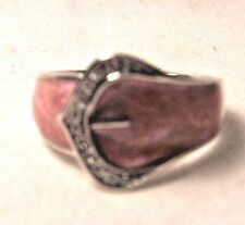 STERLING SILVER WOMENS BUCKLE RING WITH DIAMOND ACCENTS ~ PINK MOTHER-OF-PEARL