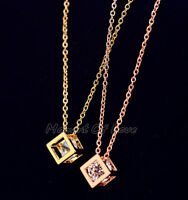 Super Sparkling Cube Silver/Gold/Rose Gold GP Cubic Zirconia Pendant Necklace