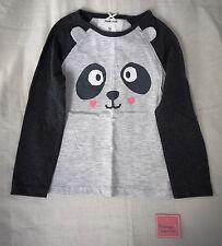 Girl's Grey Long Sleeve Top Panda Bear 5/6 Years New With Tags
