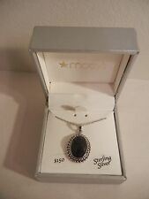 Bridge Cultured Onyx Necklace - 18 Inch - Sterling Silver - NEW