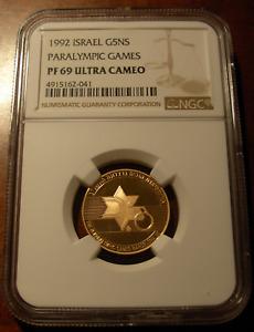 Israel 1992 Gold 5 New Sheqalim NGC PF69UC IX Paralympic Games