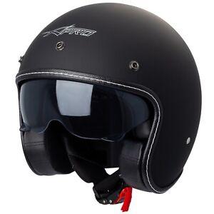 Jet Helmet Cafe Racer Open Face Motorcycle SunVisor Custom Scooter Mt Black
