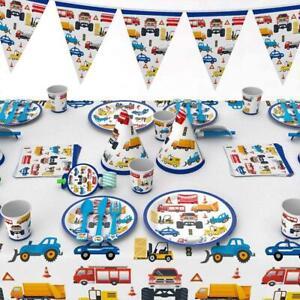 Construction Car Theme Tableware Set Balloon Kids Birthday Party Supplies Decor