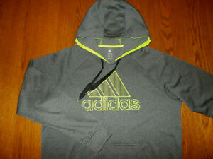 NEW ADIDAS GRAY HOODED SWEATSHIRT WITH EMBROIDERED LOGO MENS LARGE