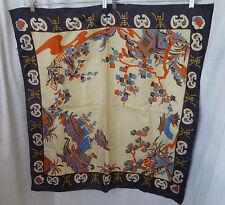 Vintage,Chinese,Paper Thin Silk Scarf,Bats,Junks,Pagodas,Hand Printed