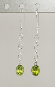 Peridot 1.95 ct Oval Dangle Earrings - Sterling Silver