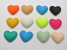 50 Mixed Color Flatback Fabric Covered Buttons Heart 16mm CABOCHON for DIY