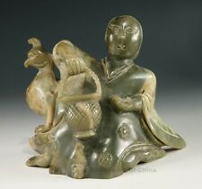 """6.19"""" Rare Chinese Old Hand Made Woman Taking A Basket Nephrite Jade Statue"""